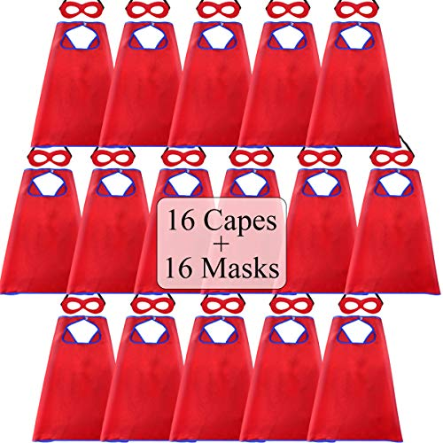 Superhero-Capes for Kids Bulk with Masks - Boys Girls Super-Hero Dress Up Party, 16 Pack (Red) ()