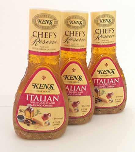 Ken's Steak House Chef's Reserve Italian Dressing with Garlic & Asiago Cheese (Pack of 3) 9 oz - Reserve Italian
