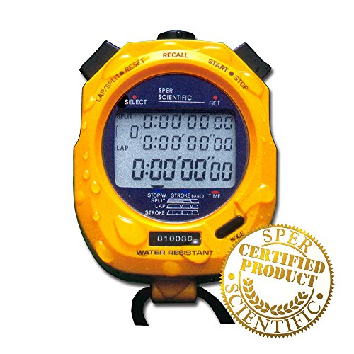 Sper Scientific 810036C Water Resistant Stopwatch for Sports and Other Applications, 100 Memory by Sper Scientific