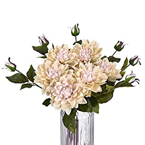 "Sunm boutique Artificial Lotus Flowers Water Lily, Silky Lotus Lilies Flower Bouquet with Rods for Wedding Party Holiday Garden Pond Home Decor, 21.3"" 15"