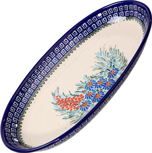 Polish Pottery Ceramika Boleslawiec 0704/169 Motif Platter Karp Baking Dish, Royal Blue Patterns
