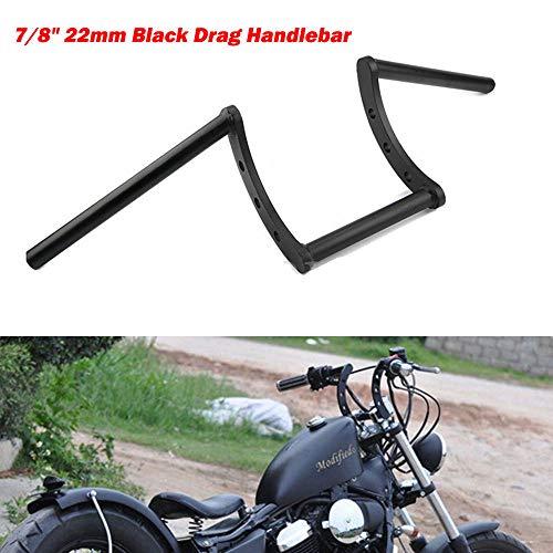 ETbotu 7/8'' 22mm Motorcycle Drag Z-Bar Pullback Handlebar for Harley Honda Black