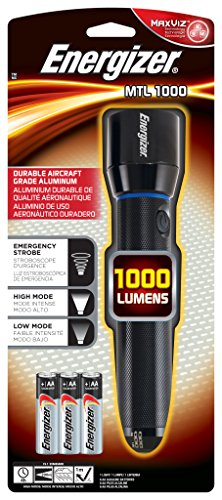 Energizer Metal AA Flashlight, 1000 Lumens (Batteries Included), 1000 Lumens