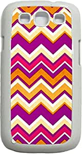 Bright Chevrons- Case for the Samsung Galaxy S3 i9300 -Soft White Rubber Case with a Swinging Open-Close Flap that Covers the screen
