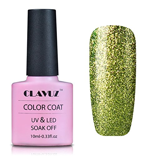 Gel Nail Polish,CLAVUZ Platinum Gel Nail Varnish Soak Off Bling Colour Lacquer UV Led Nail Art Manicure Pedicure 10ML