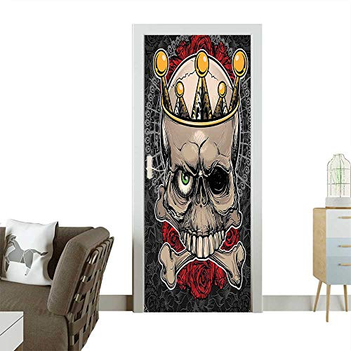 Decorative Door Decal Skull with Crown Roses Bones Dead King Halloween Illustration Tan Marigold Dark Grey Stick The Picture on The doorW17.1 x H78.7 -
