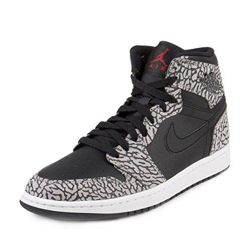 Jordan Nike Mens Air 1 Retro High Elephant Print Black/Gym Red-Cement Grey Leather Size 11.5 by Jordan