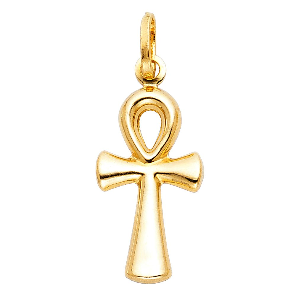 with 18 Rolo Chain 12 X 30mm Charm Pendant Egyptian Symbol for Life 14k Yellow Gold Small Ankh Cross
