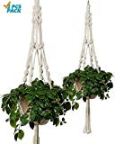 Bulky Plant Hanger Macrame Handmade Indoor Outdoor Decoration Hanging Planter Cotton Rope Basket 0.24in Thick Sturdy for Round & Square Flower Herbs Pots (No Pots No Plants) 46in, 4 Legs, 2 pcs