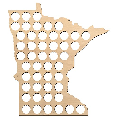 Minnesota Beer Cap Map - 13x15 inches - 48 caps - Beer Cap Holder Minnesota - Birch Plywood (Xmas Craft Ideas)