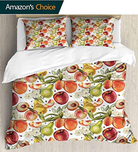(shirlyhome Peach Full Queen Duvet Cover Sets,Harvest Time in Organic Country Garden with Pears Apricots Blossoms Generous Nature Kids Bedding-Does Not Shrink or Wrinkle 87