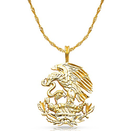 14K Yellow Gold Eagle Charm Pendant with 1.8mm Singapore Chain Necklace - 22