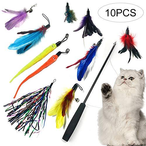 NIBESSER Katzenspielzeug Set Interaktives Spielzeug mit Federn, Katze Spielzeug mit Katzenangel Ersatzfedern, 10PCs