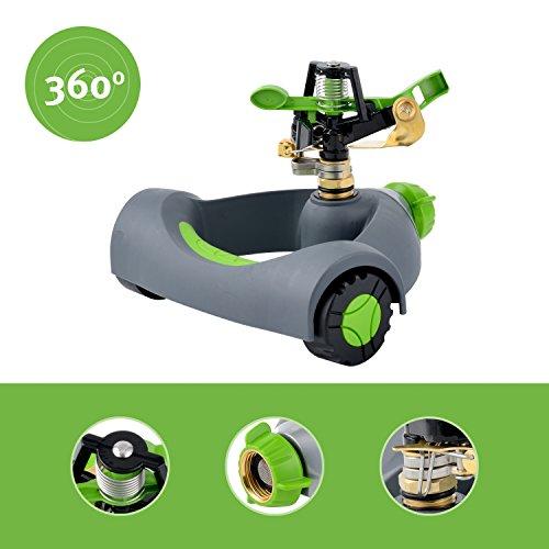 Portable Sprinkler - YeStar Lawn Sprinkler System, Adjustable 360° Rotating Portable Garden Impulse Sprinkler with Metal Head & Wheeled Base, Water Up to 4,800 Sq. Ft. Coverage