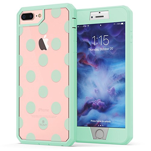 True Color Case Compatible with iPhone 7 Plus Case, Dots iPhone 8 Plus Case, Polka Dot [Dots Collection] Heavy Duty Hybrid + 9H Tempered Glass 360° Protection - Mint ()