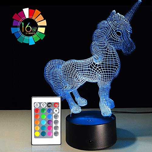 Night Light 3D Lamp 16 Colors Changing Nightlight Smart Touch & Remote Control 3D Night Light for Kids Gift Boy Girl Birthday Bedside Table Lamp (Unicorn 2)