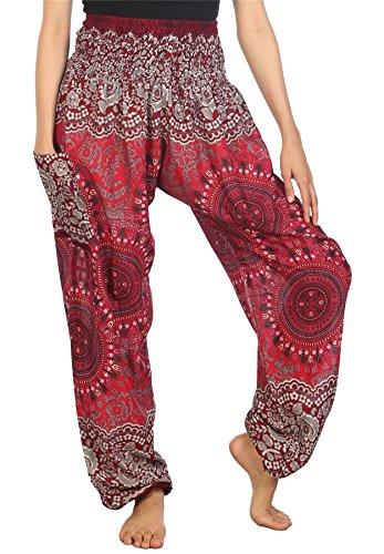 Lofbaz Mujer Harem Hippy Pantaloni cintura elástica bonzaai pantalones Rose 2 Borgoña