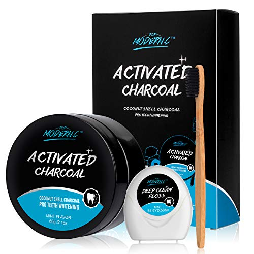 Teeth Whitening Powder Activated Charcoal Coconut -2.1oz(60g)-Teeth Whitening Kit-Bamboo Toothbrush and Teeth Floss Teeth Whitener – Tooth Powder-Oral Care Teeth Stain Removal Christmas Gift(MINT)