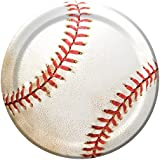 """Creative Converting 8 Count Sports Fanatic Baseball Sturdy Style Paper Lunch Plates, 7"""", White"""