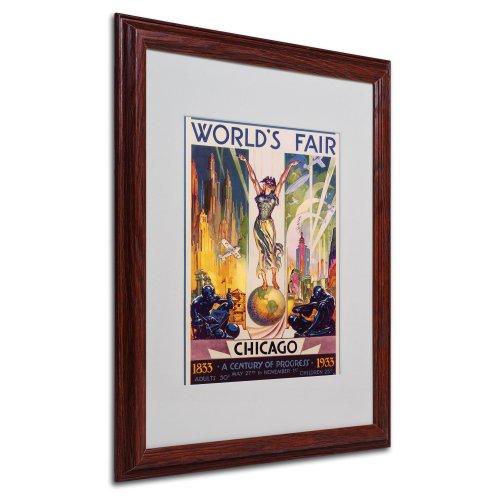 World's Fair Chicago by Glen Sheffer Canvas Artwork in Wood Frame, 16 by (Chicago Worlds Fair Framed Art)