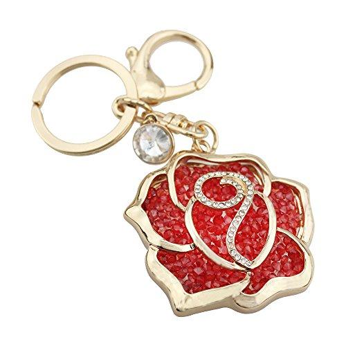 FOY-MALL Peach Heart Rose Crystal Rhinestone Plating Alloy Women Bag Keychain Car Key Ring H1005 -