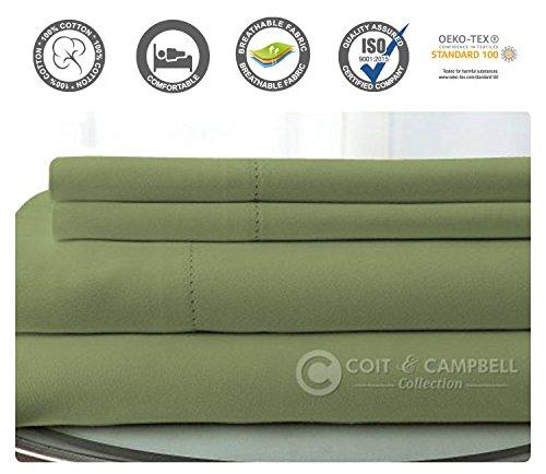 Coit & Campbell Premium Hotel Collection OEKO-TEX Certified Solid 500 Thread Count Deep Pocket 100% Cotton Sateen Sheet Set, Queen Sage ()