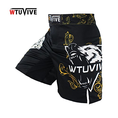 WTUVIVE Men's Yellow Poker Warrior Boxing Fitness Breath boxing shorts Tiger Muay Thai Boxing Shorts MMA Shorts Kickboxing
