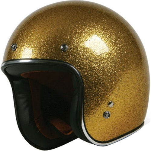 - Torc Super Flake 3/4 Adult Route 66 T-50 Harley Touring Motorcycle Helmet - Gold / Large