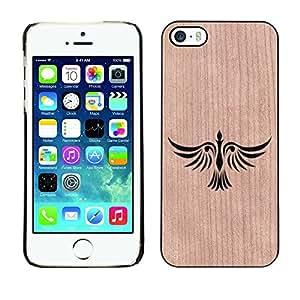 // MECELL CITY PRESENT // Cool Funda Cubierta Madera de cereza Duro PC Teléfono Estuche / Hard Case for iPhone 5 / 5S /// Phoenix Fire Bird Artistic Minimalist ///
