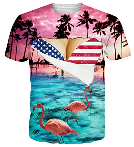 Funny Hawaiian T-shirts (Belovecol Unisex Cool 3D Print T Shirts Short Sleeve Crewneck Hawaii Funny Flamingos Graphic Tee Shirts Tops XL)