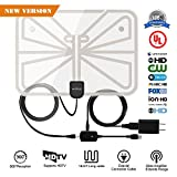 Electronics : TV Antenna,Indoor HDTV Antenna 1080P 50-100 Mile Range with Detachable Amplifier Signal Booster,USB Power Supply and 16.5FT High-Performance Coax Cable-Transparent Appearance 2018 New Version