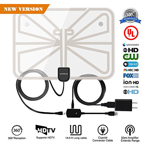 TV Antenna,Indoor HDTV Antenna 1080P 50-70 Mile Range with Detachable Amplifier Signal Booster,USB Power Supply and 16.5FT High-Performance Coax Cable-Transparent