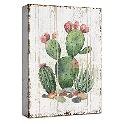 Top Quality Design, Amazing Expertise, Cactus Green with Red Flowers Abstract Painting Artwork for Home Framed