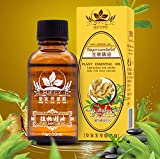 Facial Steam How Long - Lymphatic Drainage Ginger Massage Oil - 100% Natural Pure Organic Ginger Plant Root Spa Therapy - Ginger Aromatherapy Steam Oils For Skin Hair Growth Feet Foot - Therapeutic Grade Ginger Essential Oil