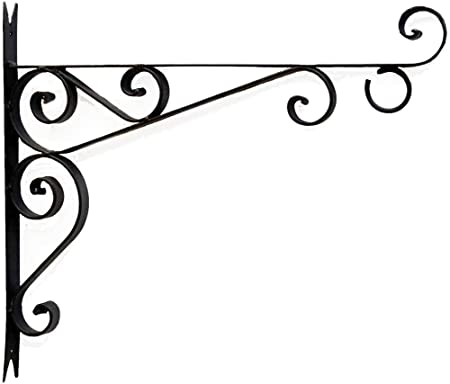 Elegant Wrought Iron with Ball Screws Shepards Hook Scroll Wall Hanger