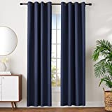 AmazonBasics Room Darkening Blackout Window Curtains with Grommets Set, 42' x 96', Navy