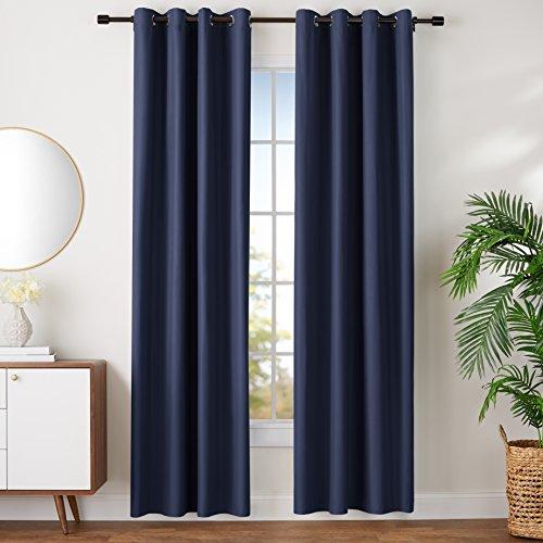 AmazonBasics Room Darkening Blackout Window Curtains with Grommets Set, 52 x 96, Navy