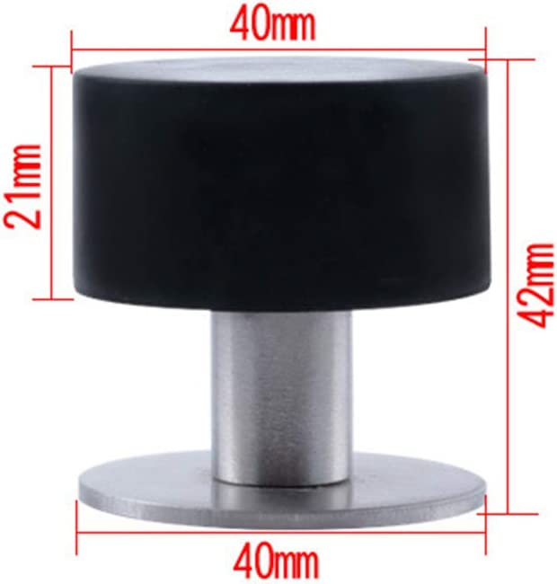 2 Pcs Adhesive Mounted Stainless Steel Door Stop Black Self Adhesive Door Stopper Chrome No Drill Doorstops with Adhesive Tapes and Sound Dampening Rubber Bumper