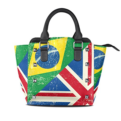 COOSUN Mujeres del Reino Unido y Brasil Grunge bandera PU hombro bolsas de cuero asa superior del totalizador del bolso del bolso de Crossbody Medio Multicolor