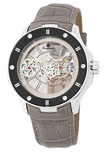 Burgmeister Men's Mechanical Hand Wind Stainless Steel and Leather Casual Watch, Color:Grey (Model: BM236-100)