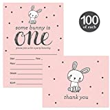 Baby's First Birthday Invites & Matched Thank You Notes ( 100 of Each ) with Envelopes Girl 1st B'day Cute Pink Bunny Rabbit Fill-in Invitations & Thank You Cards Daughter One Year Old Best Value Set