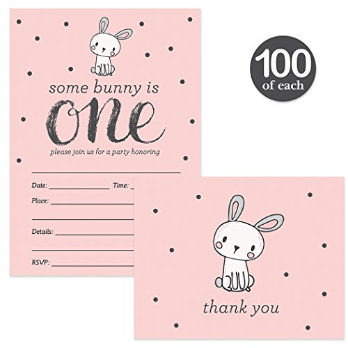 Baby's First Birthday Invites & Matched Thank You Notes ( 100 of Each ) with Envelopes Girl 1st B'day Cute Pink Bunny Rabbit Fill-in Invitations & Thank You Cards Daughter One Year Old Best Value Set by Digibuddha