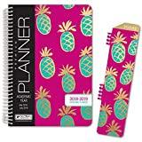 """HARDCOVER Academic Year Planner 2018-2019 - 5.5""""x8"""" Daily Planner/Weekly Planner/Monthly Planner/Yearly Agenda. Bonus Clip-in Bookmark (Pineapples)"""