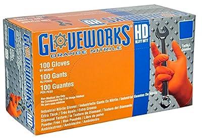 AMMEX - GWON46100-BX - Nitrile Gloves - Gloveworks - Disposable, Powder Free, 8 mil, Large, Orange (Box of 100)
