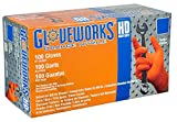 AMMEX - Gloveworks - Nitrile Gloves - Heavy Duty - Industrial Grade - Powder Free - Latex Rubber Free - Disposable - Diamond Texture - Orange Color - 8 mil Thickness - Medium Size - Convenient Dispenser Box of 100 - GWON44100BX