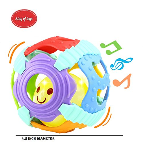 King of Toys Baby Rattle, Sensory Teether Toy suitable for Kids 0-24M, Music, Colorful Lights, Soft Activity Ball.