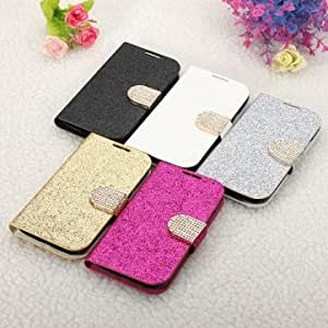 Bling Flip Magnetic Lock Stand Wallet Case For Samsung Galaxy S4 I9500 --- Color:Black