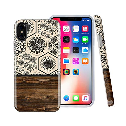 CASESOCIETY Floral Tile and Wood Design Clear Bumper Glossy TPU Soft Rubber Silicone Shockproof Gel Cover iPhone Case Compatible with Apple iPhone X & iPhone Xs