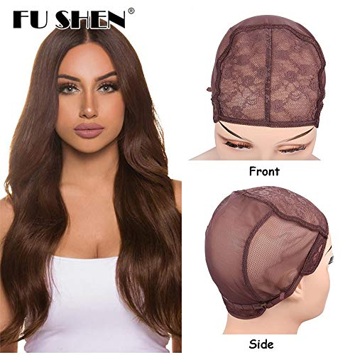 - Quality Double Lace Wig Weaving Cap For Making Wigs With Adjustable Straps and Combs Brown Color Stretch Mesh Jewish Hair Net Confortable Wig Caps For Hair Weave (Brown 1 Piece M-21 Inch)
