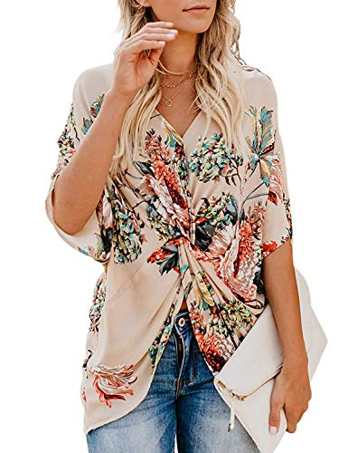 Dressy Tops for Women, Misyula Women Empire Waist Shirt Summery Chiffon Knot Twist Flutter Sleeve V Neck Floral Loose Fit Peasant Blouses Formal Retro Trendy New Chic Tunic Party Wear 2019 Apricot M